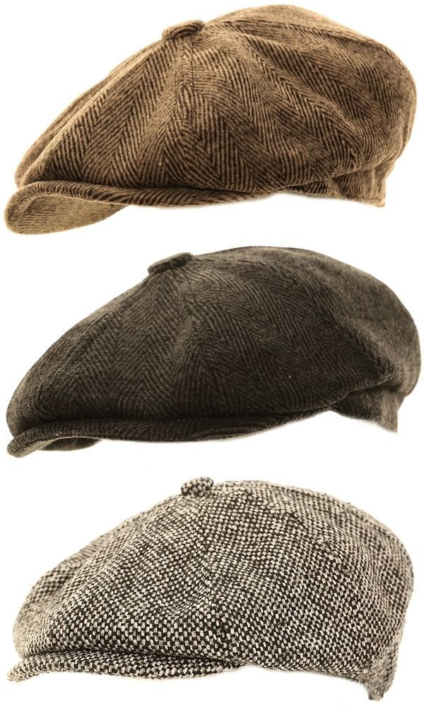 d6710df5 Mens Herringbone Baker Boy Caps Newsboy Hat Country Style Gatsby / Flat Cap