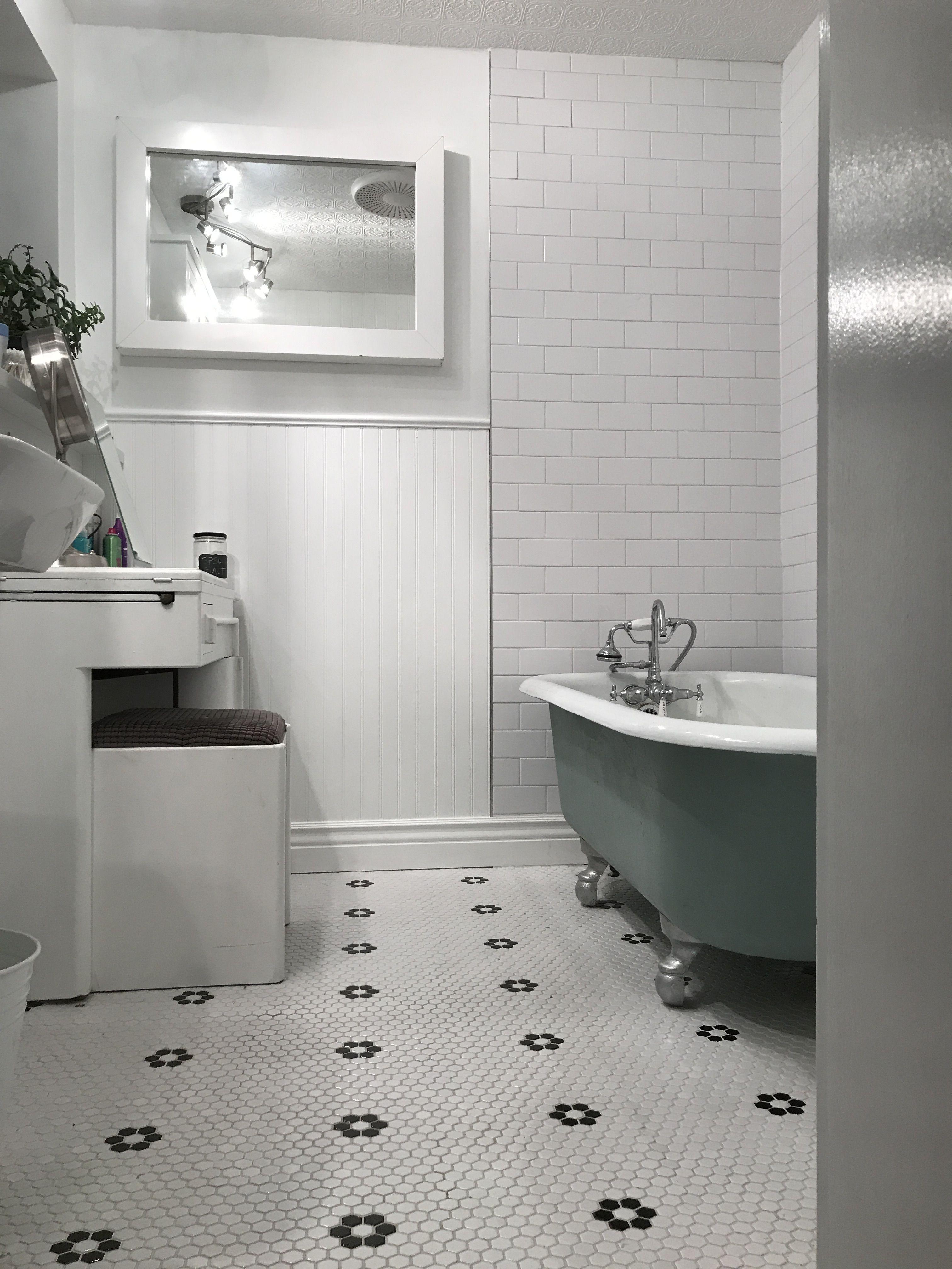 Claw Foot Tub, Bathroom Remodel, Hex Tile, Bead Board, Textured