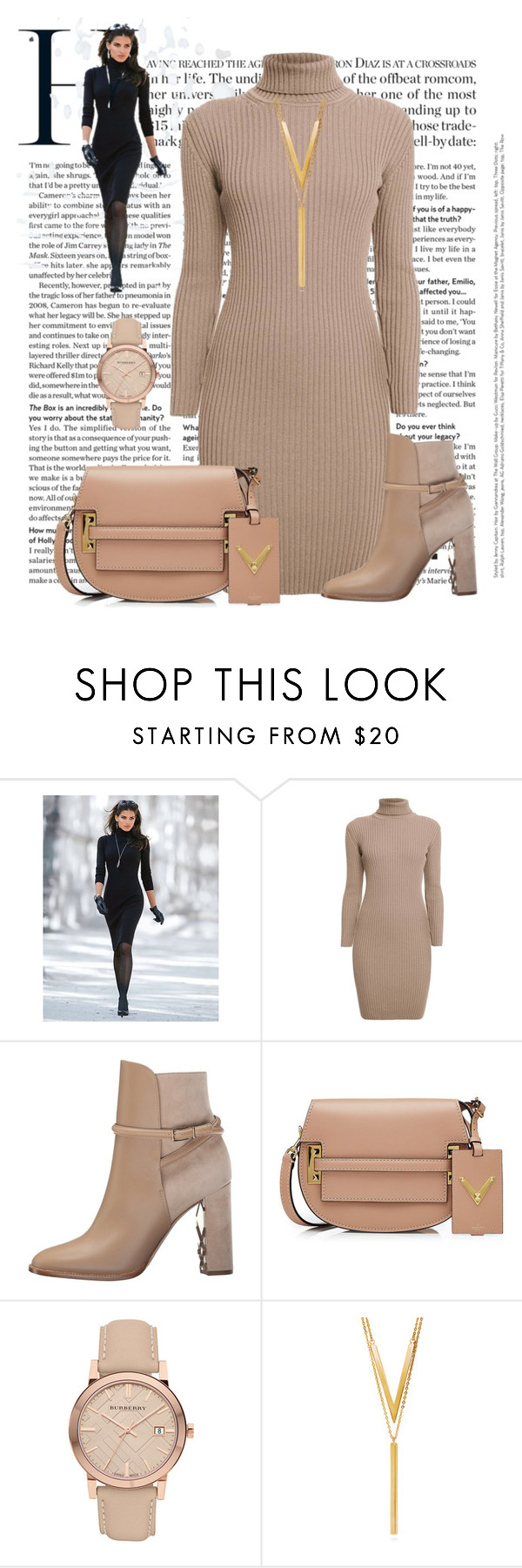 """Untitled #1578"" by ebramos ❤ liked on Polyvore featuring Rumour London, Burberry, Valentino and BERRICLE"