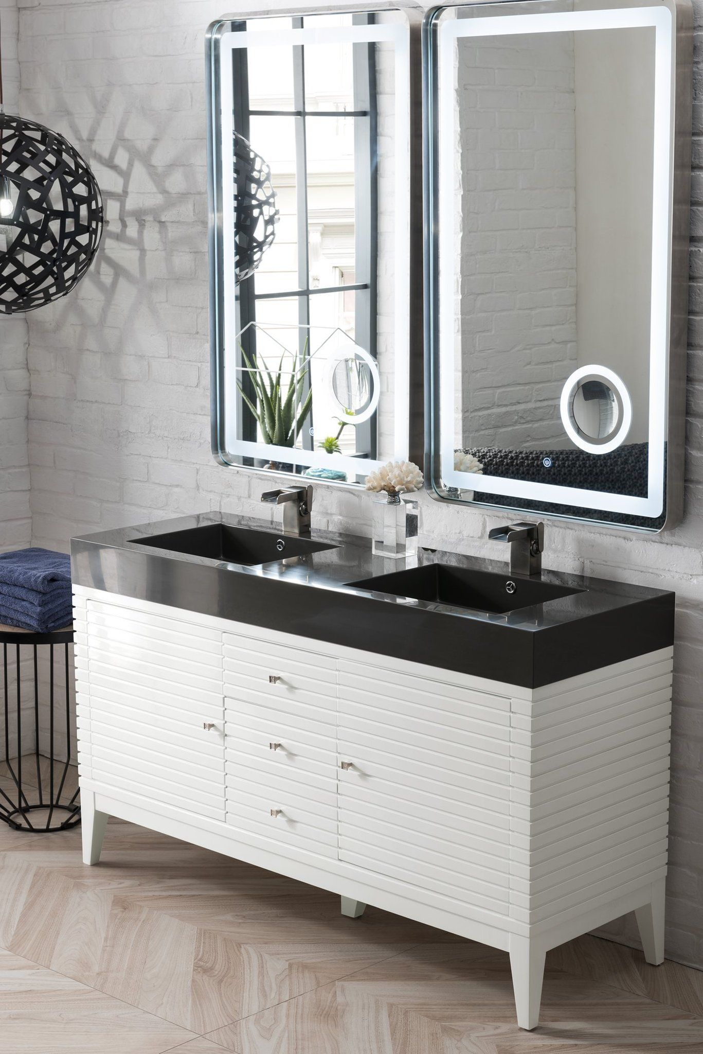 Linear 59 Double Bathroom Vanity Glossy White In 2020 Double