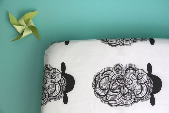 fitted crib sheet in black sheep, so excited about this sheet!  black and white crib sheet.