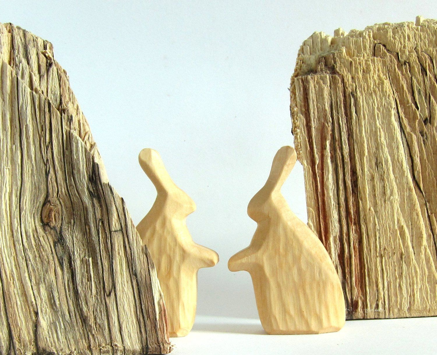 Holzküche Waldorf Primitive Art Naive Art Woodcarving Wooden Rabbit Carved