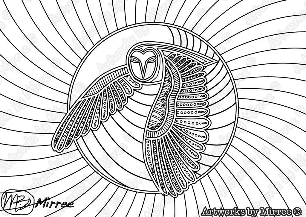 39 owl colouring single pdf page colouring page 39 by mirree contemporary dreamtime series art. Black Bedroom Furniture Sets. Home Design Ideas