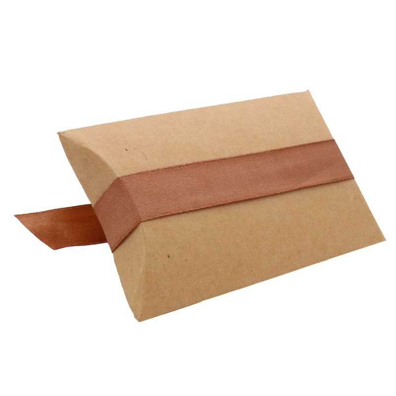 Diy paper pillow box for wedding gift kraft rustic party