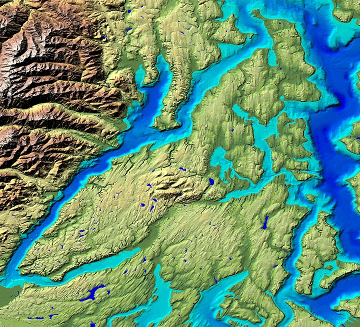 Merged Topography And Bathymetry Data With Shoals Computer