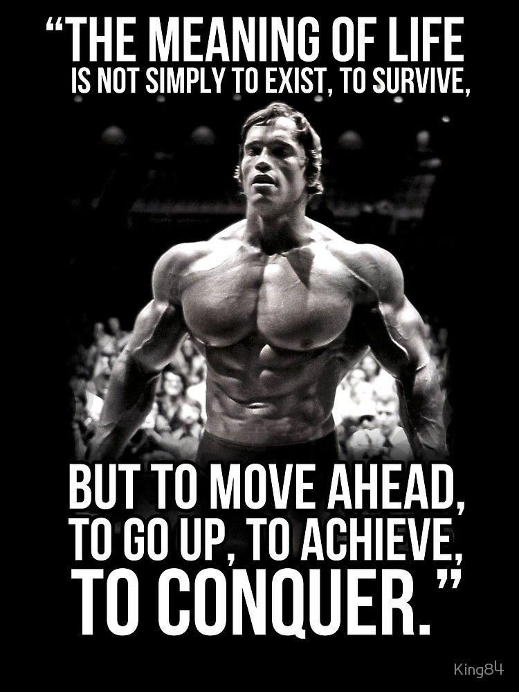 'Arnold Schwarzenegger Arnie Conquer Quote' Canvas Print