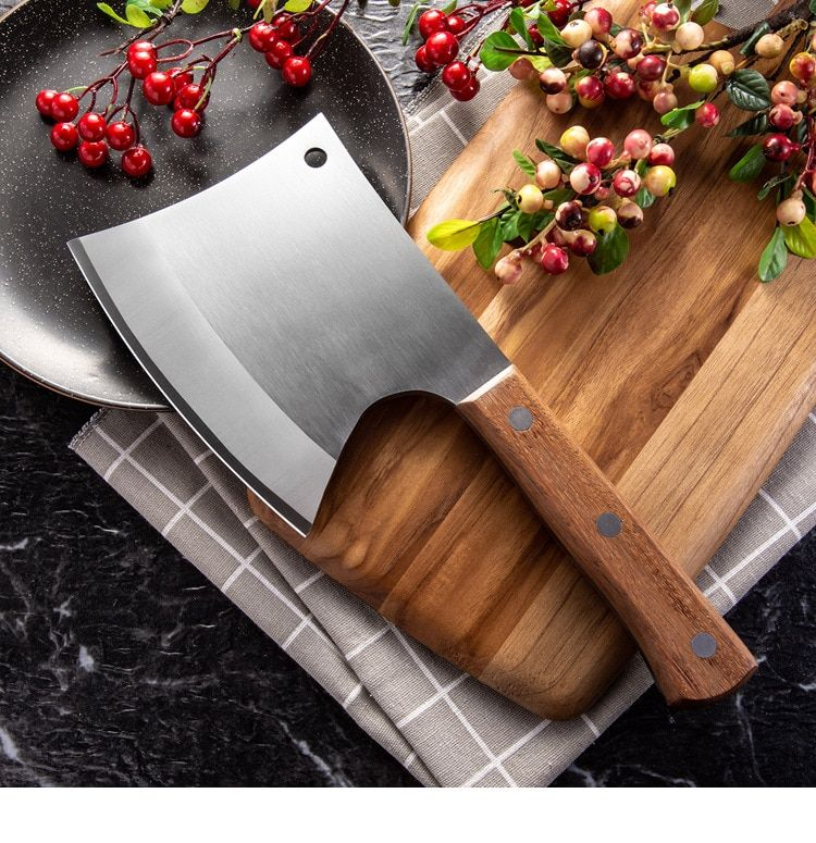 Chop Bone Knife  Heavy Duty Butcher Kitchen Knives Wood Handle 5CR15 Stainless Steel