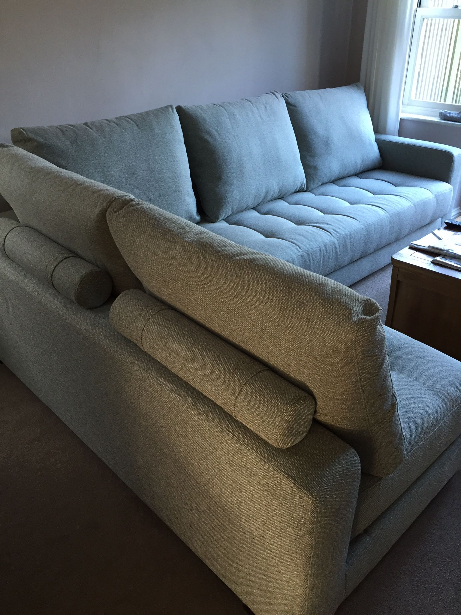 Tweed 49 Fabric On Two 200cm X 100 Cm One Arm Sofa Modules Create A 300