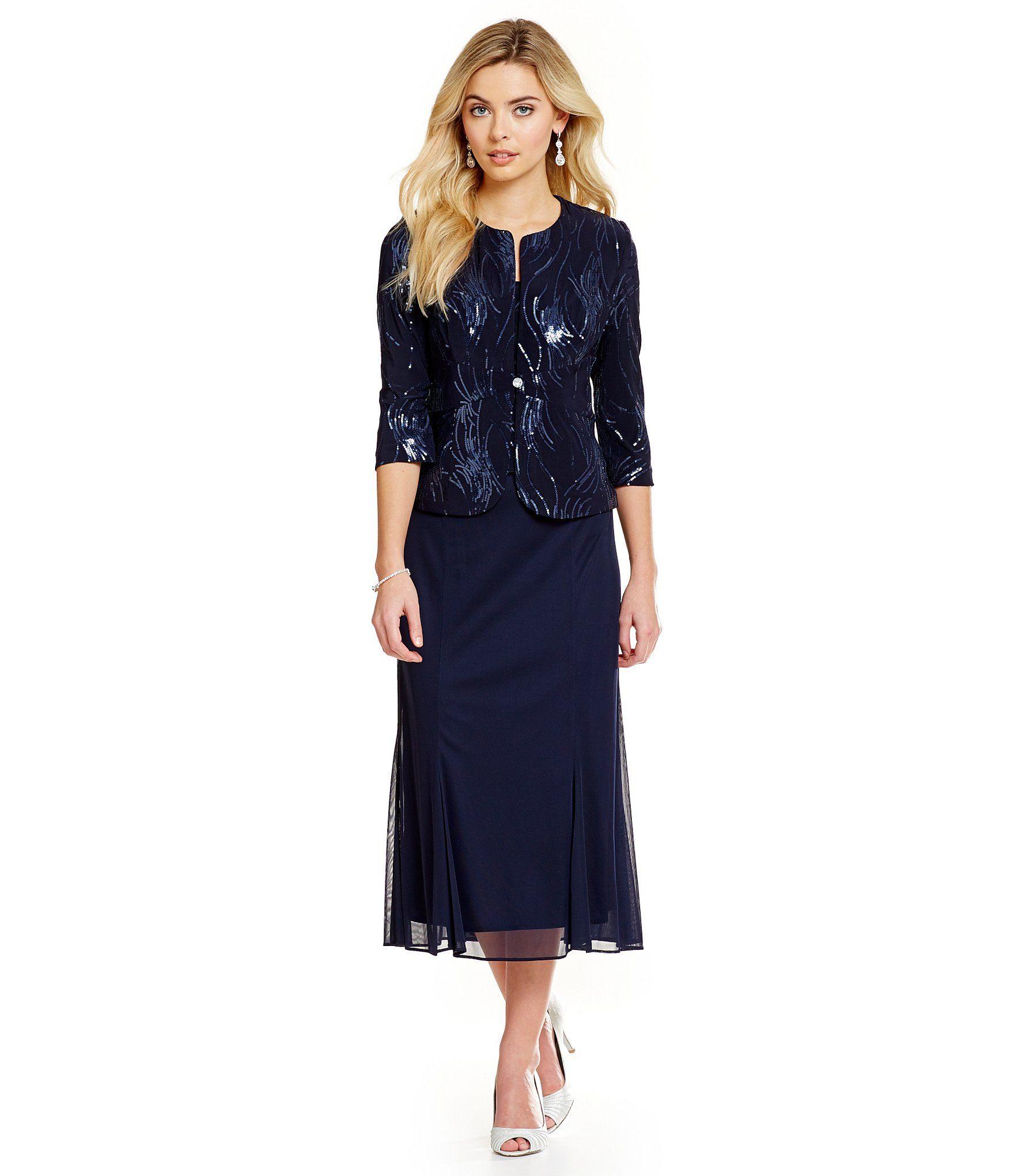 Alex evenings sequined piece jacket dress dillards clothing