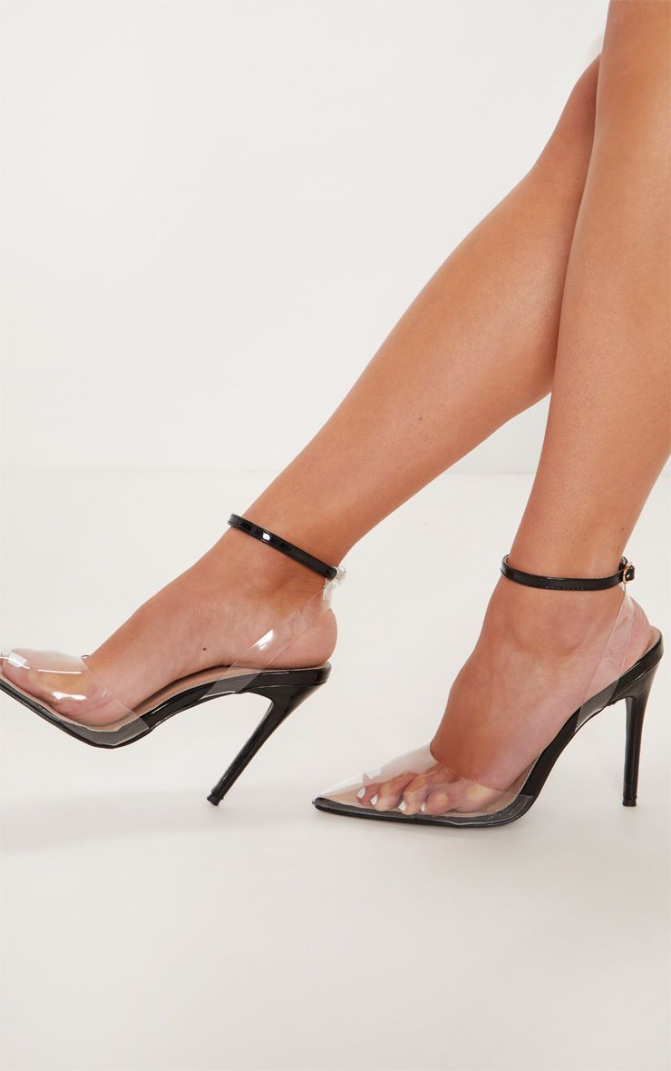 Black Clear Ankle Strap Court Shoes Ankle strap, Women