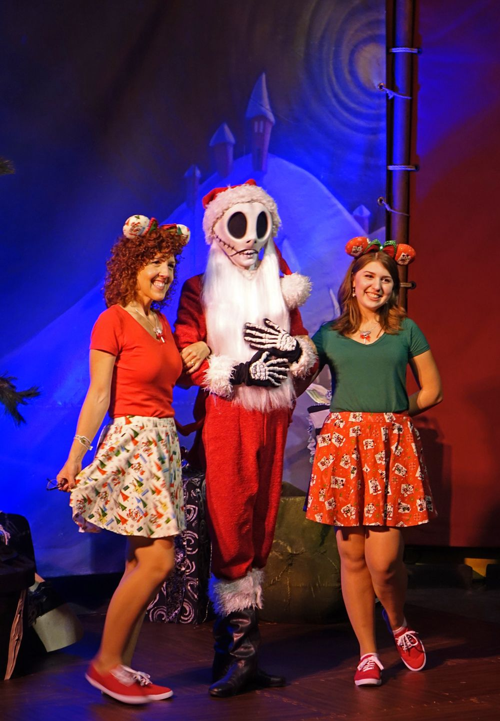 jack skellington greets guests in his sandy claws suit at mickeys very merry christmas party 2015