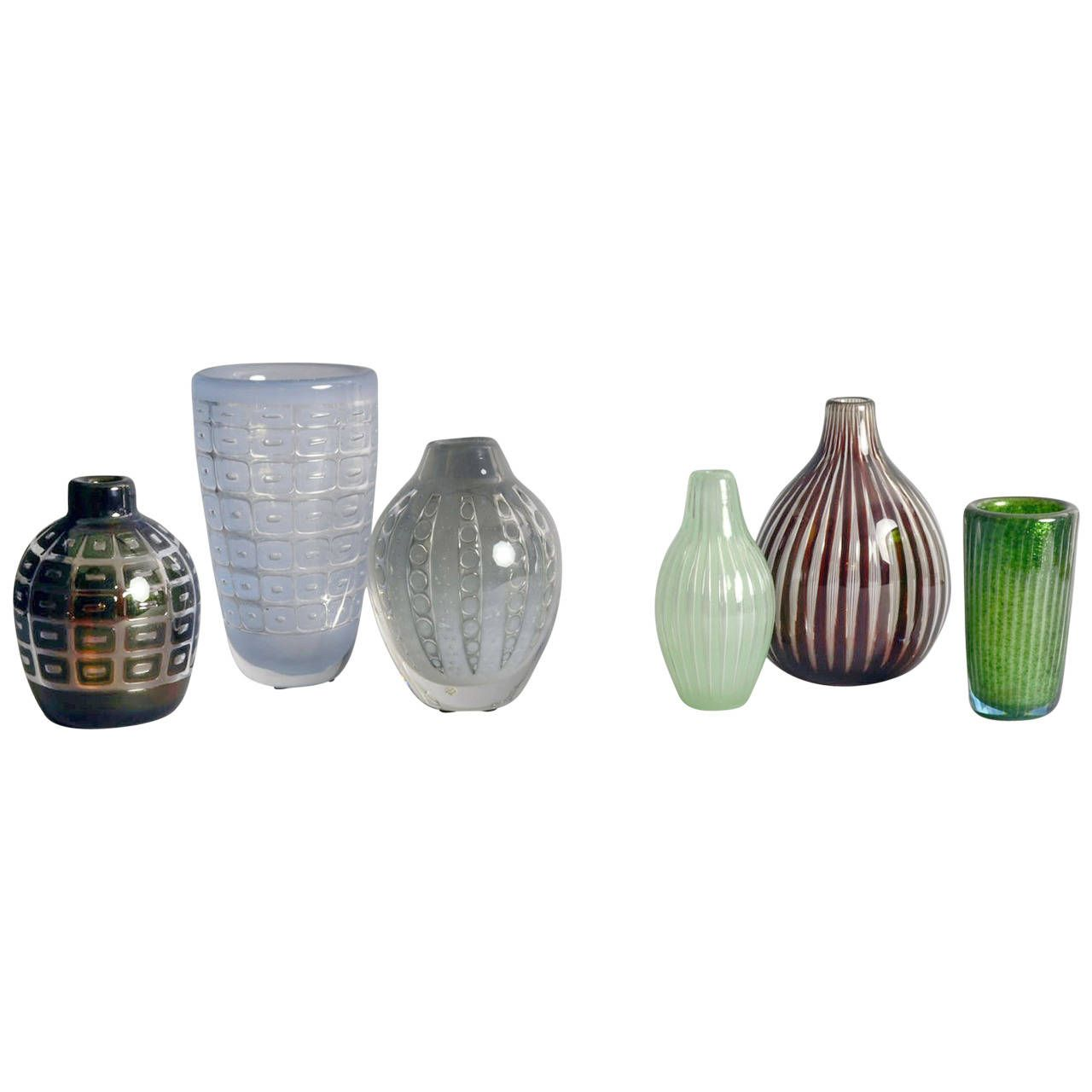 Edvin Ohrstrom for Orrefors Group of Ariel Vases | From a unique collection of antique and modern vases and vessels at https://www.1stdibs.com/furniture/decorative-objects/vases-vessels/