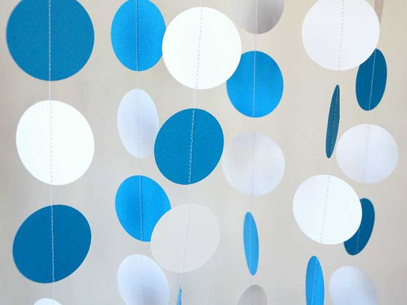 Blue And White Decorations blue and white garland, birthday decorations, fathers day, nursery