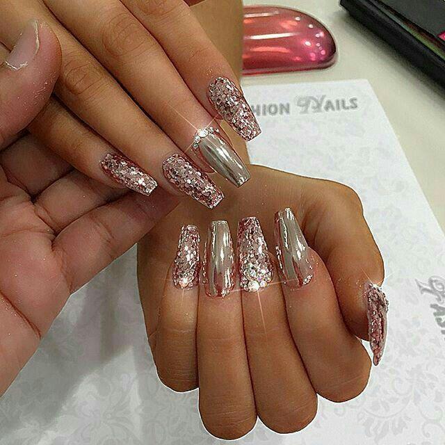 Uñas de acrílico. Uñas espejo y gliter rosa | uñas | Pinterest ...