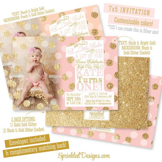 Pink Gold First Birthday Invitation with Photo, BIG ONE 1st Birthday Invitation Girl Photo Invites,