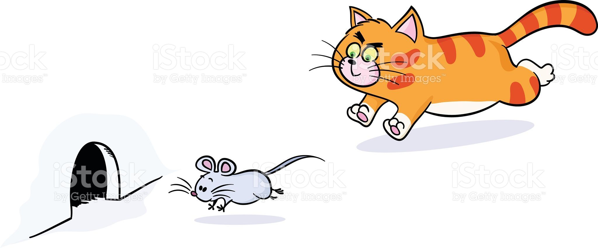 Cat Chasing Mouse Vector Art In