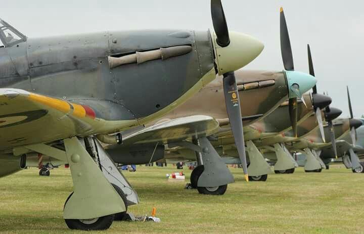 Five Hawker Hurricanes at Biggin Hill.