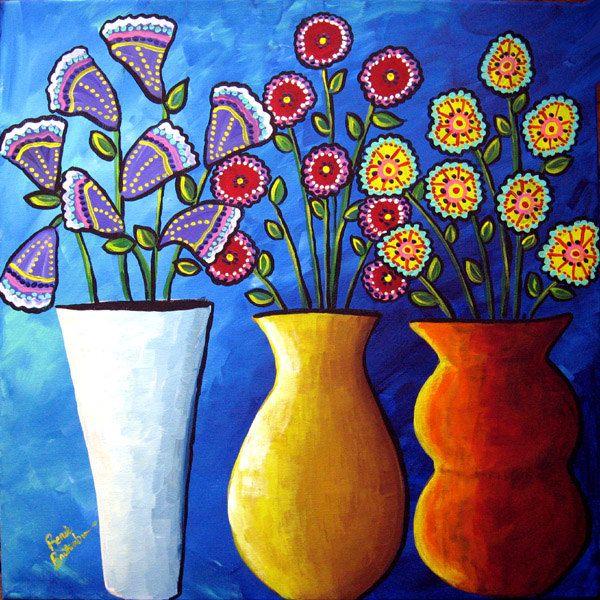 3 Fun Funky Flowers Vases Floral Fun Colorful Folk Art Painting Via