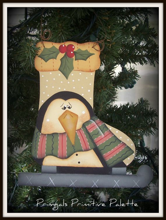 Penguin Ice Skate Wood Large Ornament Hand Painted Holiday Home Decor Decoration