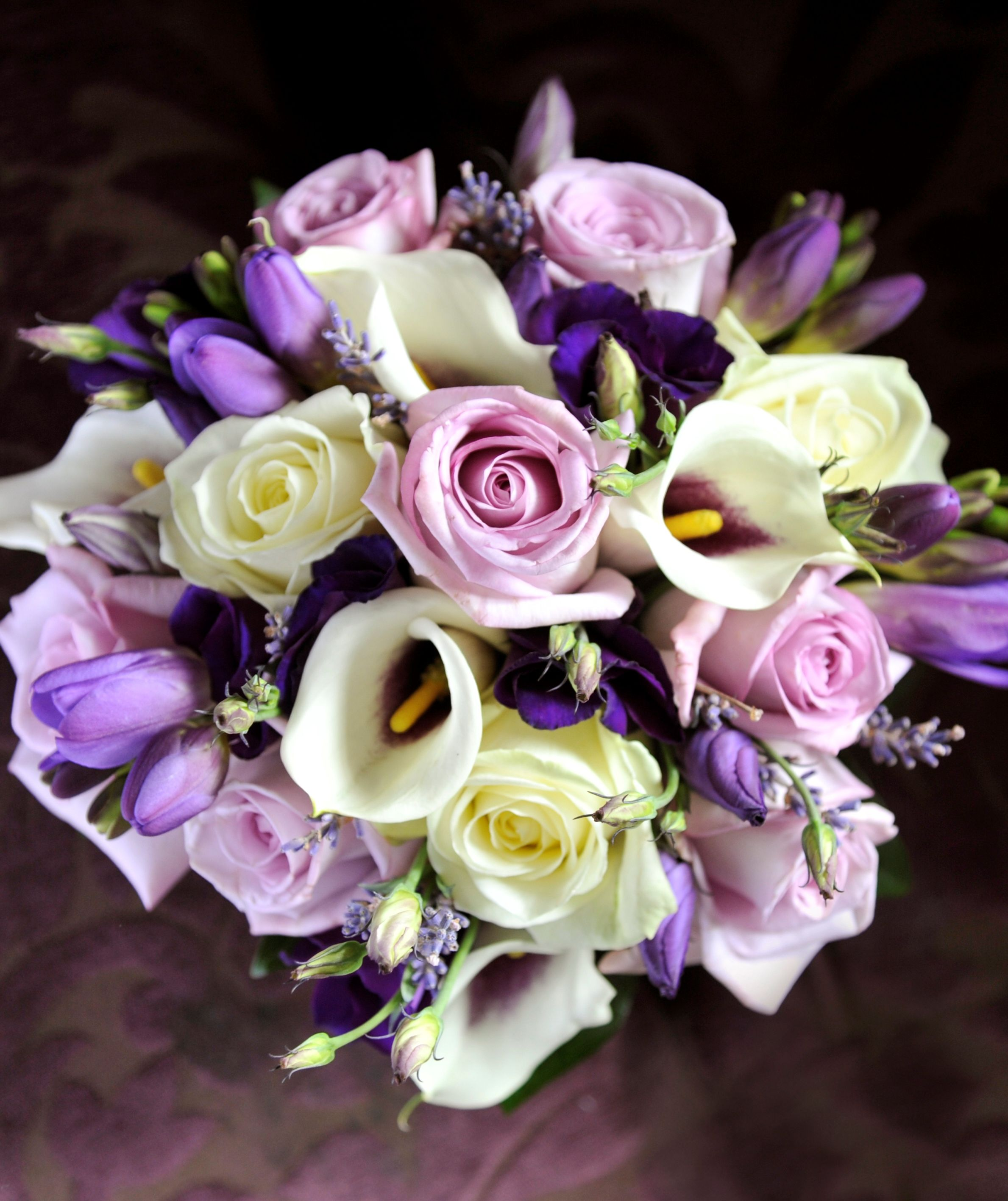 Beautiful Wedding Bouquet Of Pink White And Yellow Roses Callas