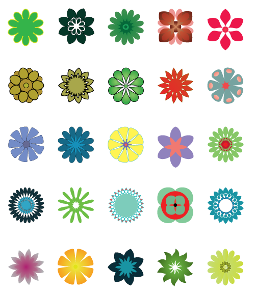 Illustrator Vector Flower Symbols There Are Twenty Five Original And