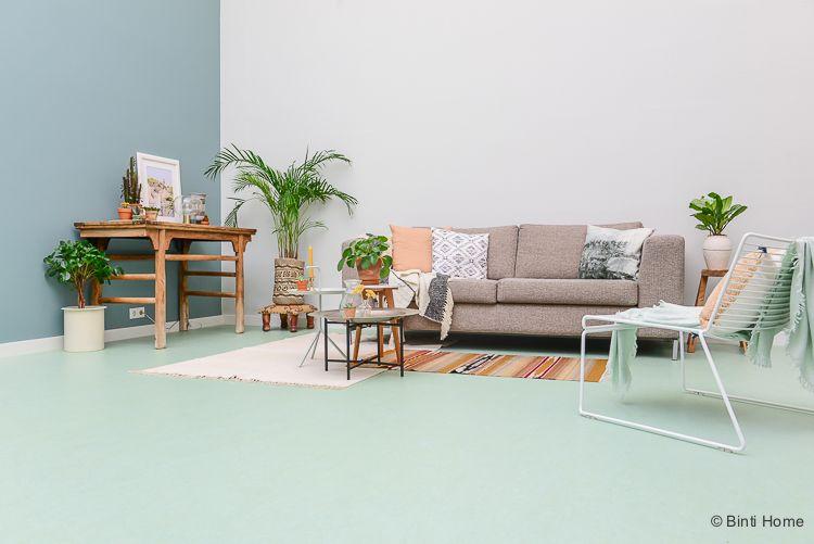 Marmoleum vloer – De woonkamer inrichten met de kleur mint groen ...