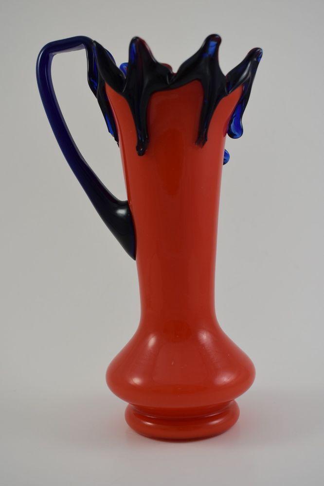 Vintage Czechoslovakia Tango Glass Vase Orange With Blue Threading