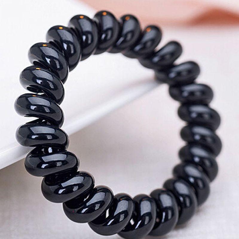 5ps Women Girls Hair Bands Black Elastic Rubber Telephone Wire Hair ...