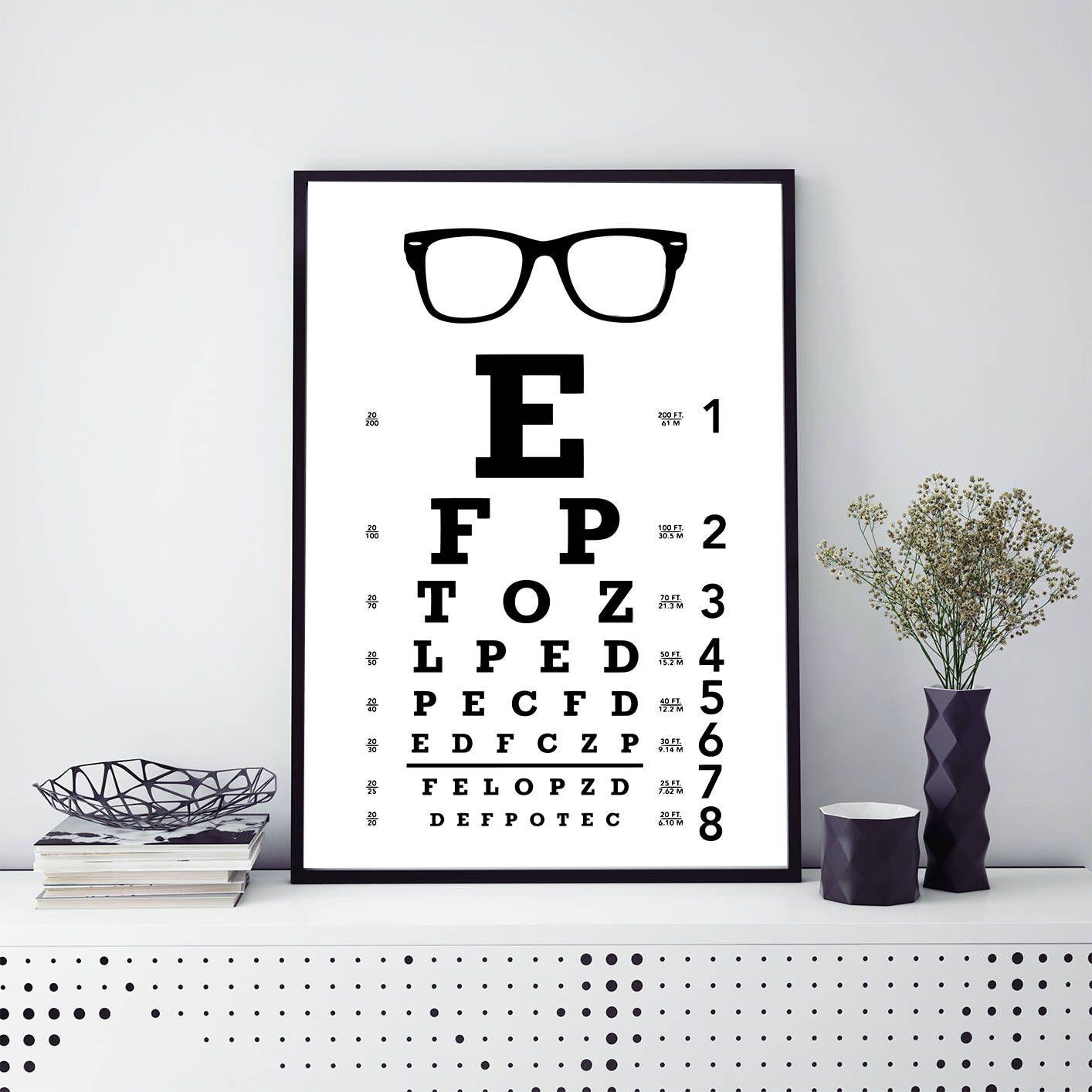 Eye Chart Exam Print Eye Chart Printable Wall Art Optometrist Gift