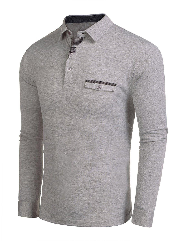 Mens Tee Shirt Jersey Tops Pocket Plaid T Shirt Long Sleeve Polo
