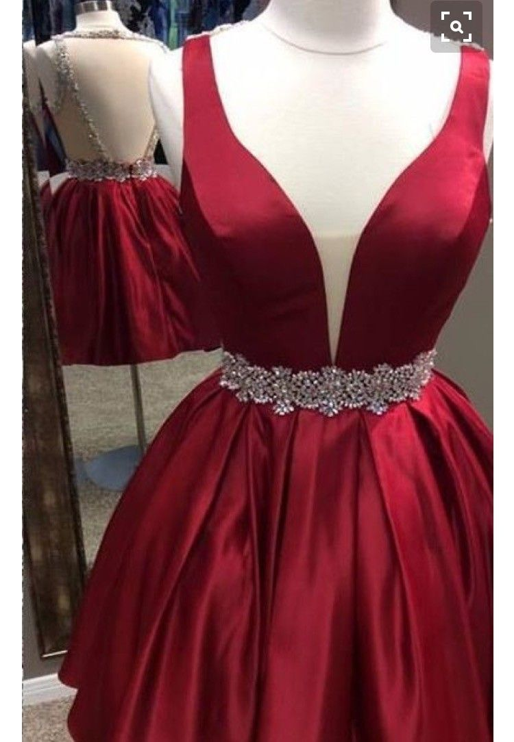 Sexy beaded open back wine red homecoming dress dresses
