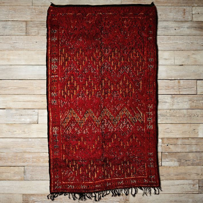Found Moroccan Rug-Bordeauz Patterned