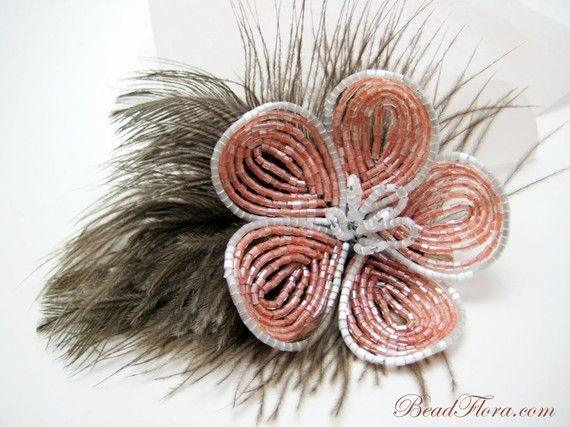 French fantasy beaded flower hair clip autumn by BeadFloraJewels, $48.00. made from vintage tangerine hex beads with Japanese silky beads on a bed of milk chocolate feathers. Beautiful!
