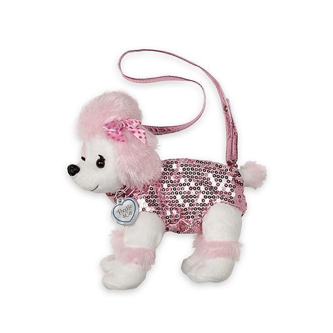 Poochie Co Poochie Co Girl S Plush Sequin Dog Purse Poodle