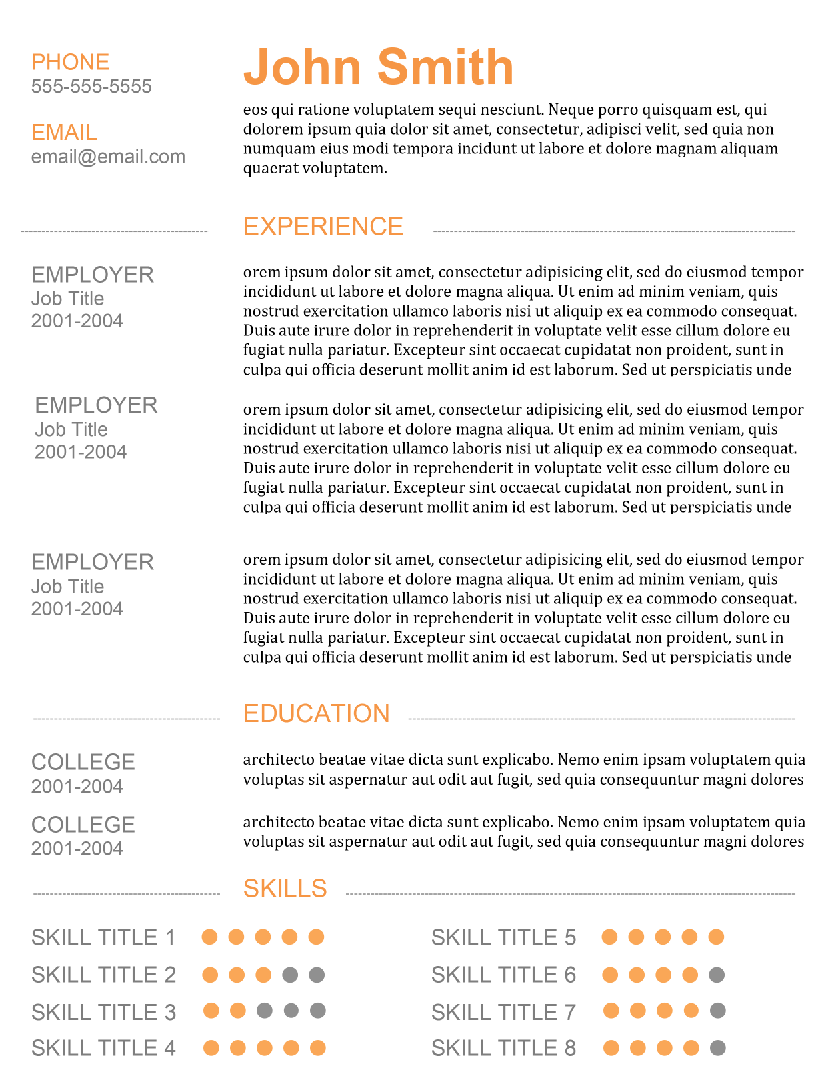 "skillful"" resume template 