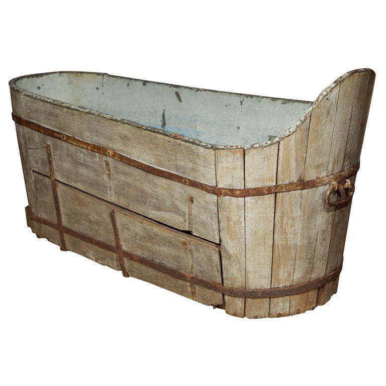 Antique Wooden And Copper Bath