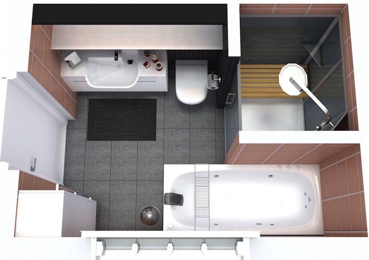 agencement salle de bain de 6 metres carres avec baignoire et cabine de douche moderne
