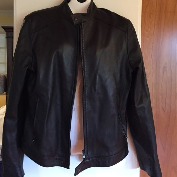 ✨SOFT BLACK LEATHER JACKET✨ zipper front worn once Soft black leather coat. Worn once. Size 46 European. Made in Italy. American size 10/12.lined. Vera Pelle  Jackets & Coats