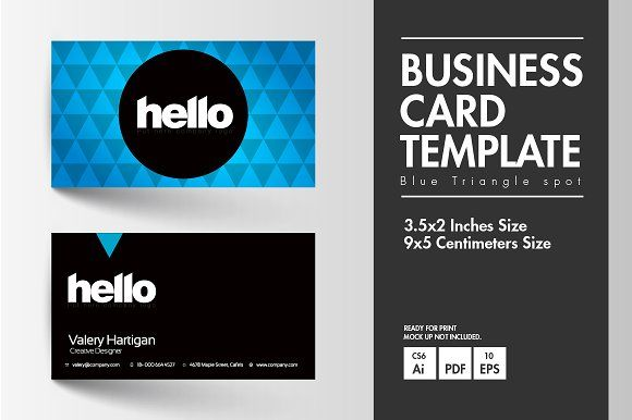 Business card blue triangle spot business cards triangles and business card blue triangle spot templates types of filesyou can edit this files with adobe cs3 illustrator photoshop to adobe cc i by tnknstocks reheart Image collections