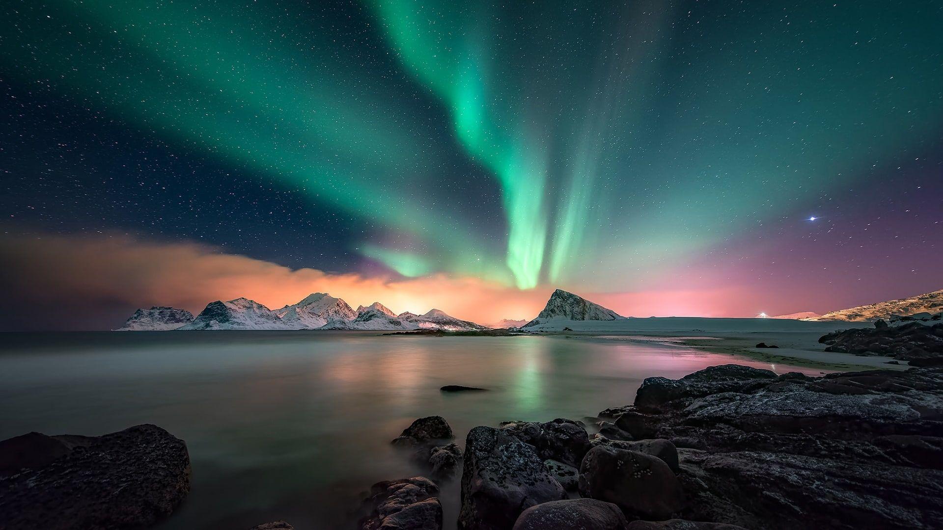 Night Aurora Borealis Lofoten Night Sky Norway Arctic Europe Landscape Polar Lights Northern Lights In 2020 Northern Lights Wallpaper Aurora Boreal Night Skies