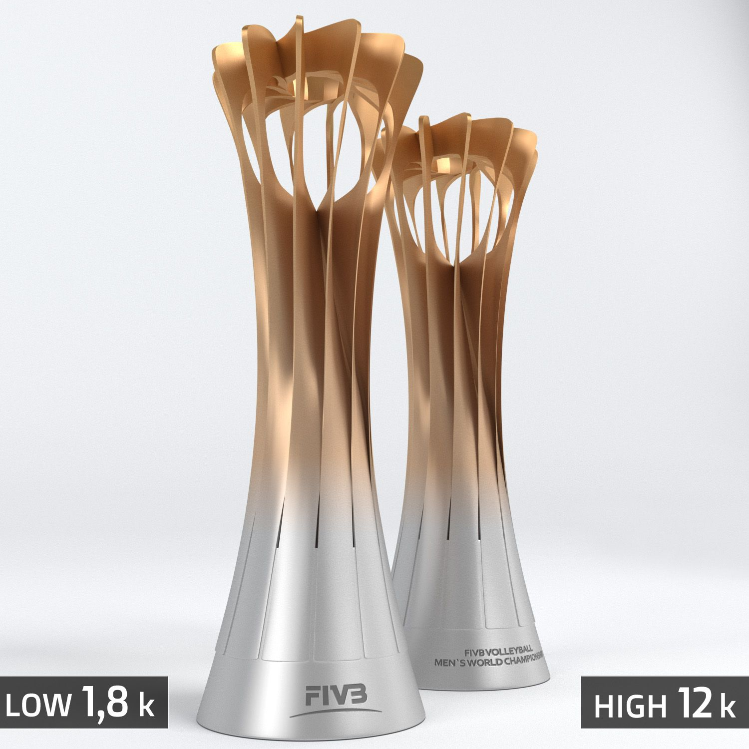 Volleyball World Championship Cup Trophy Low Poly Championship World Volleyball Poly