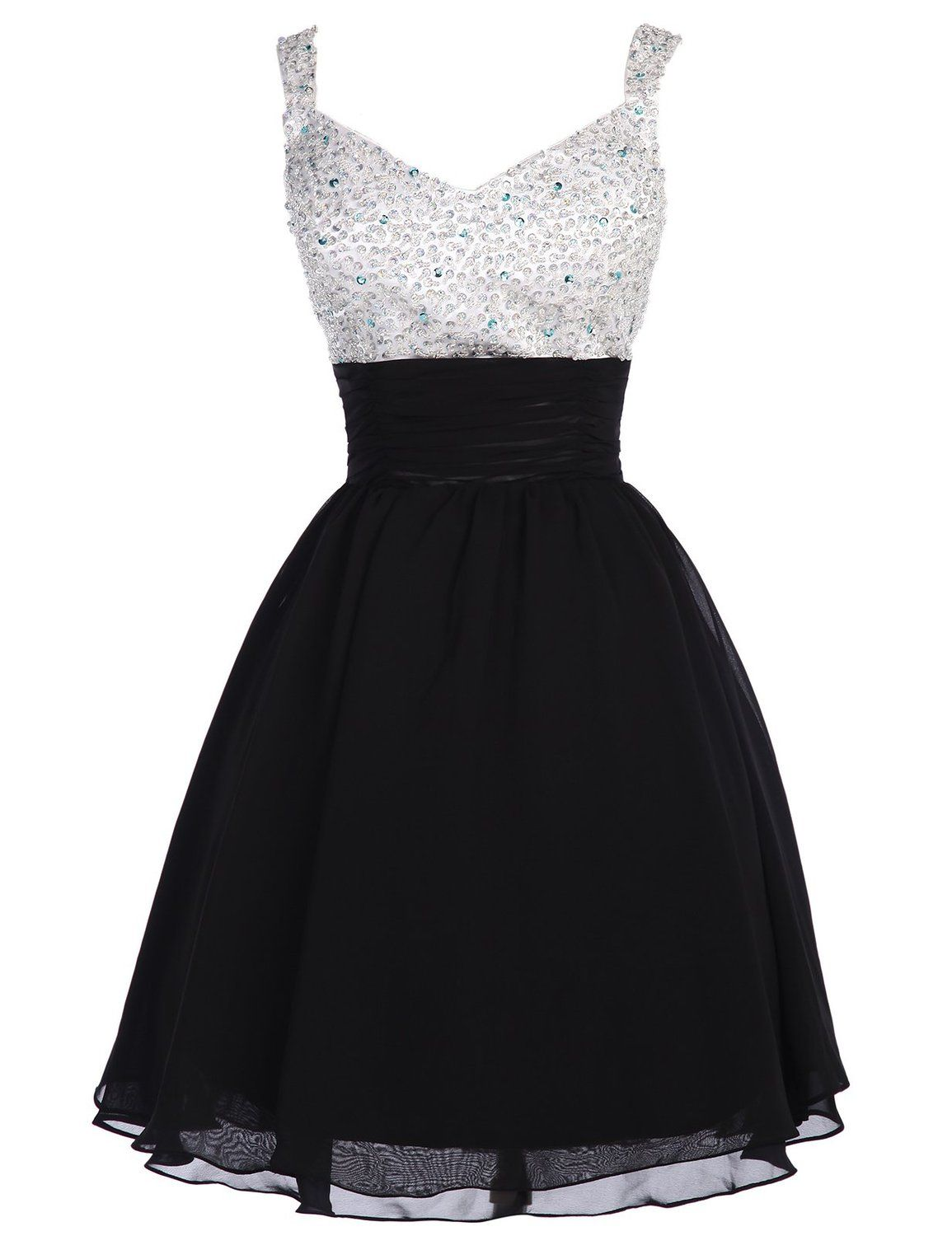 Tidetell.com Cute A-line V-neck Chiffon Beaded Homecoming Dress with Straps, short prom dresses, black prom dresses, chiffon prom dresses, beaded prom dresses, cute homecoming dresses, beaded homecoming dresses, V-neck homecoming dresses