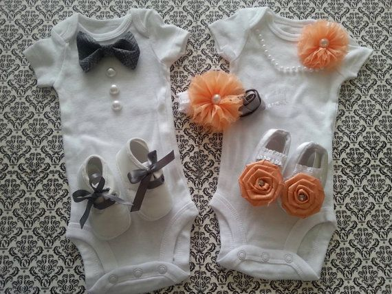 Boy girl twin outfits newborn take home peach by leopardlacelove