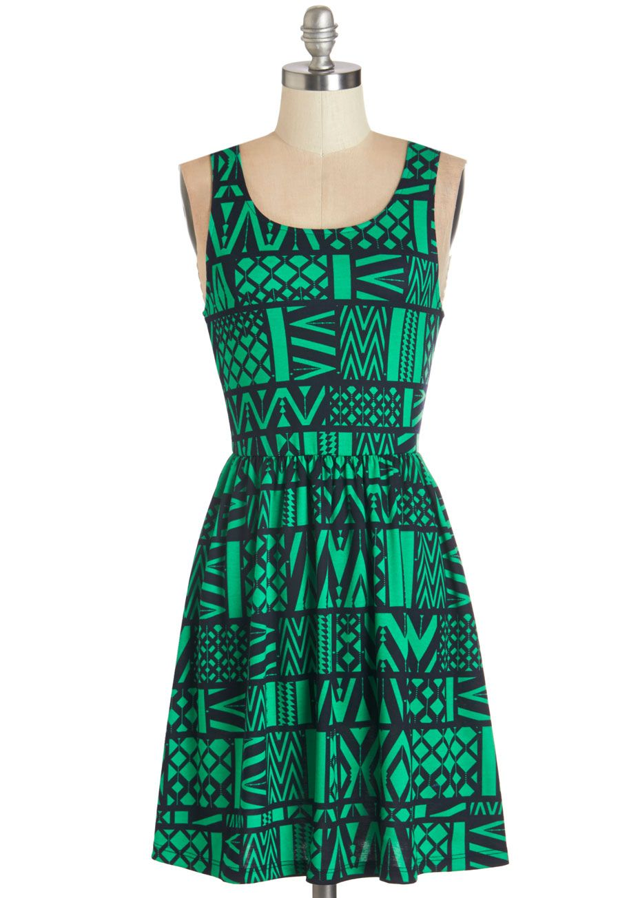 Land Before Sublime A-Line Dress in Dinos | Navy chevron, ModCloth ...