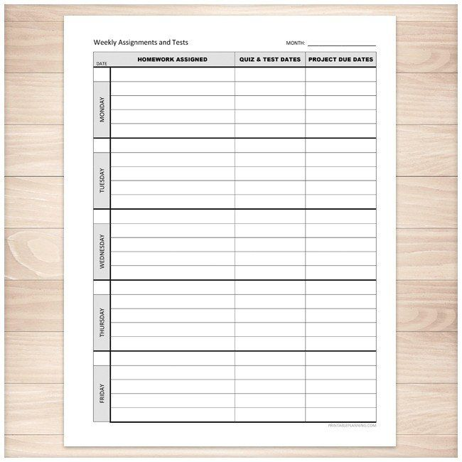 Weekly School Assignments and Tests Sheet - Printable Pinterest - printable assignment sheet