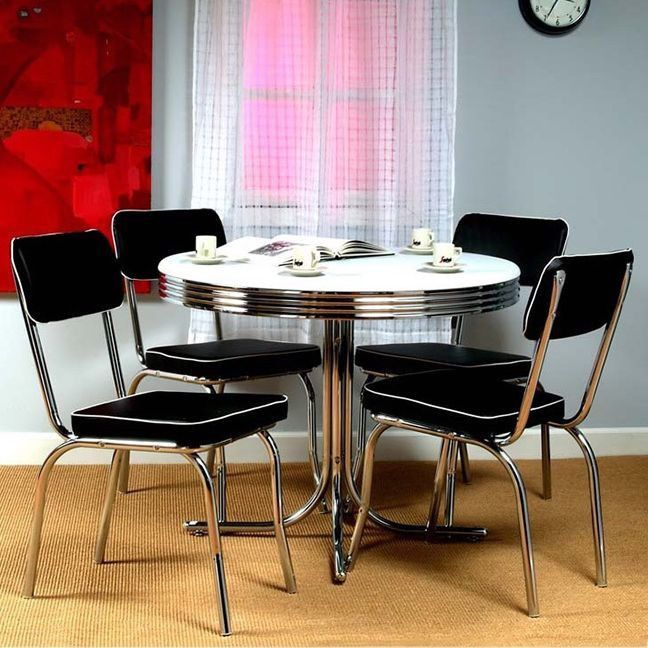 Retro Bistro Dining Table 4 Chairs Set Vintage Kitchen Chrome Dinette Furniture