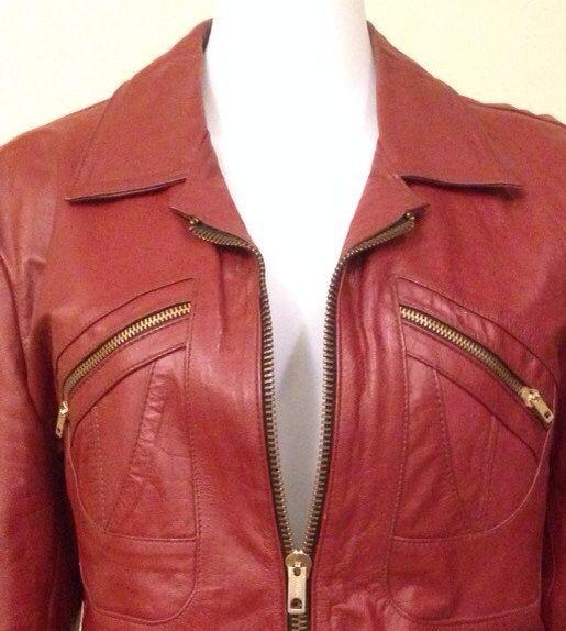 70s Vintage Red Leather Biker Jacket