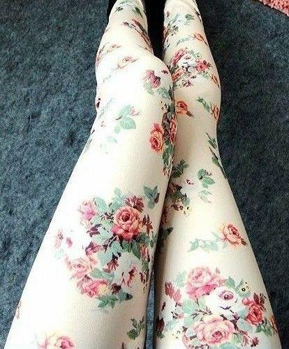 gorgeous rose print tights/leggings