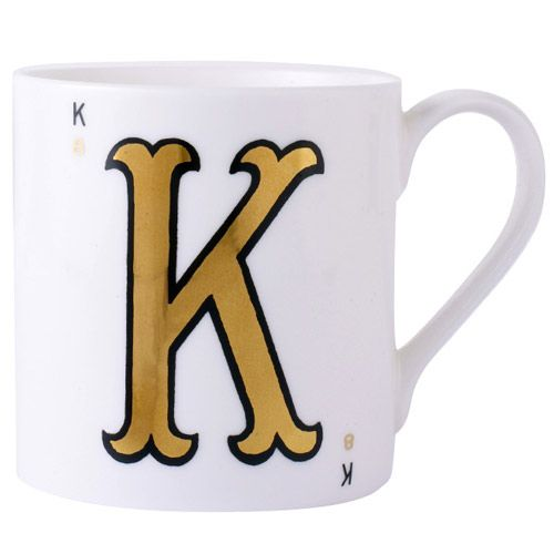 cup, mug, Alphabet cup, monogram cup, letter cup, playing card cup