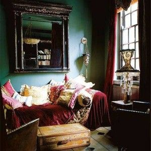 Gypsy Decorating Style With Forest Green Walls And Mirror And Velvet ...